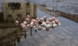 """""""Politicians discussing Global Warming"""" — a statue in Berlin, Germany"""
